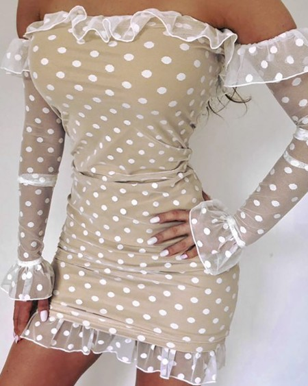 boutiquefeel / Polka Dot Off Shoulder Frill Bell Cuff Bodycon Dress