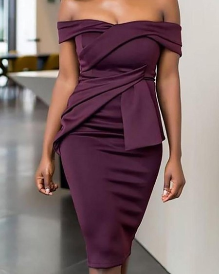 Fold Pleat Design Off Shoulder Midi Dress