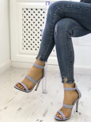 Fashion Striped Cut Out Stiletto Sandals