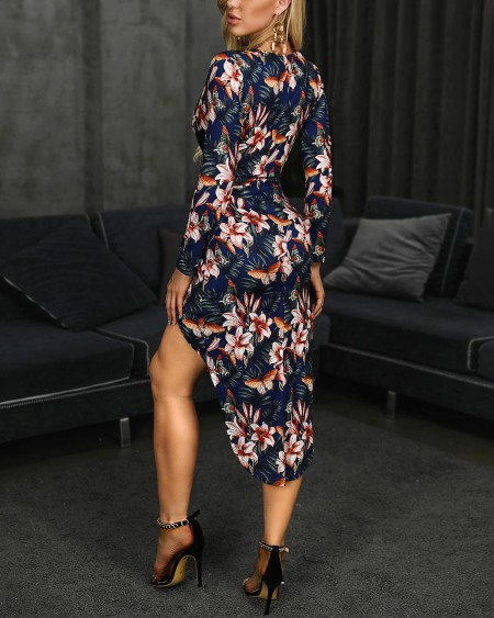 Floral Print Surplice Wrap Slit Dress