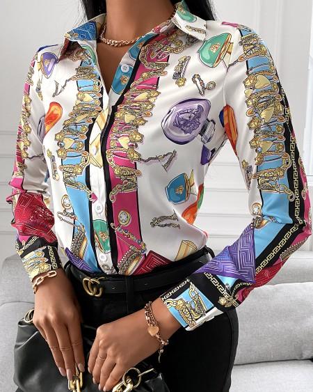 All Over Print V Neck Long Sleeve Shirt