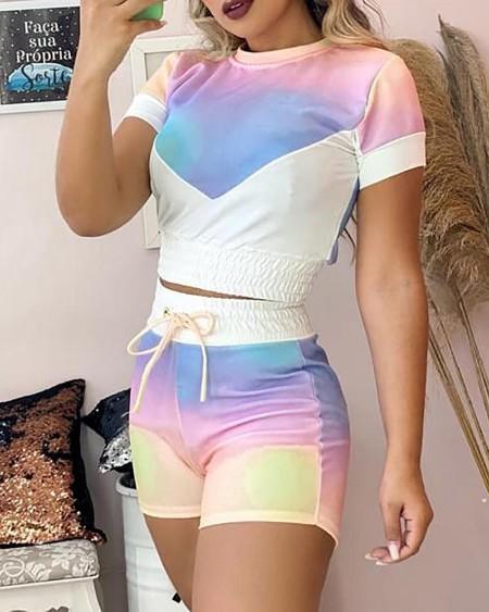 Tie Dye Print Top & Shorts Set