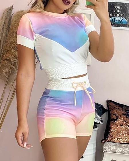 Tie Dye Print Colorblock Top & Drawstring Shorts Set