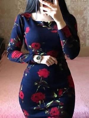 Floral Print Fishtail Hem Bodycon Dress