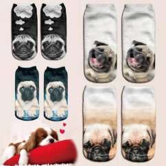 Funny Animal Cute Pug Dog 3D Digital Print Unisex Couple's Breathable Stretchy Short Socks 19Cm