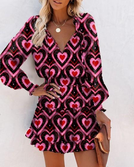 Heart Print Skinny Waist Long Sleeve Mini Dress