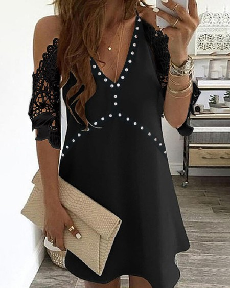 Studded Cold Shoulder Crochet Lace Dress