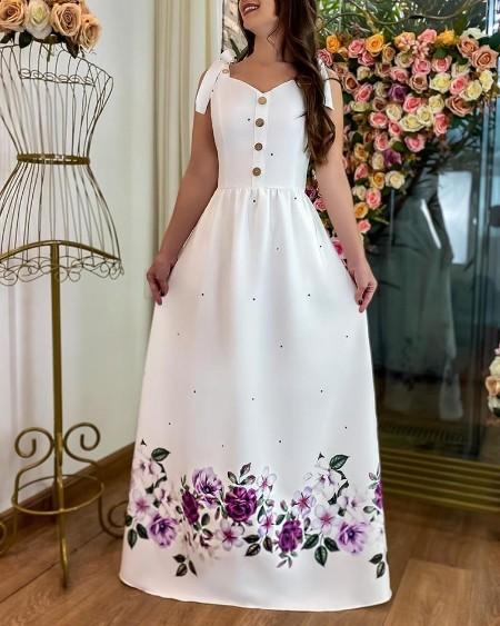 Floral Polkadot Print Buttoned Maxi Dress