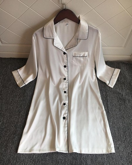 Pocket Design Button Down Satin Nightgown