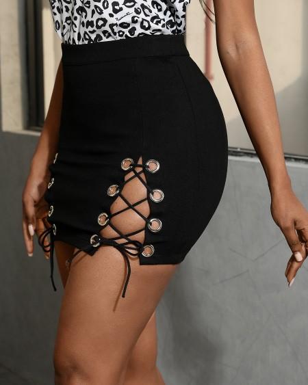 Eyelet Lace-up Skinny Skirt