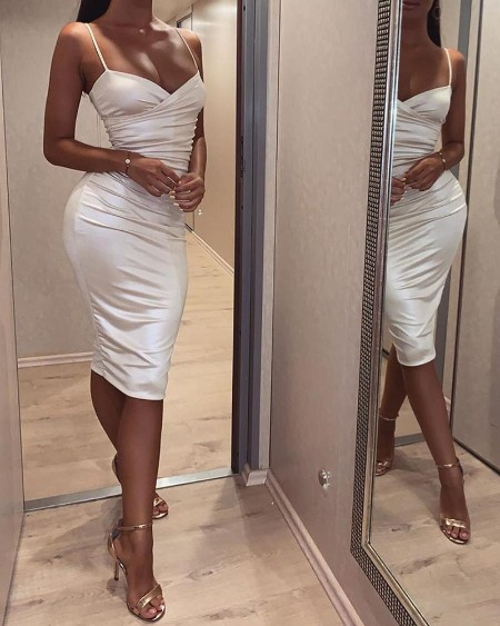Bodycon Sleeveless Ruched Cami Dress
