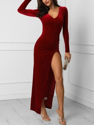 V-Neck Long Sleeve Thigh Slit Dress