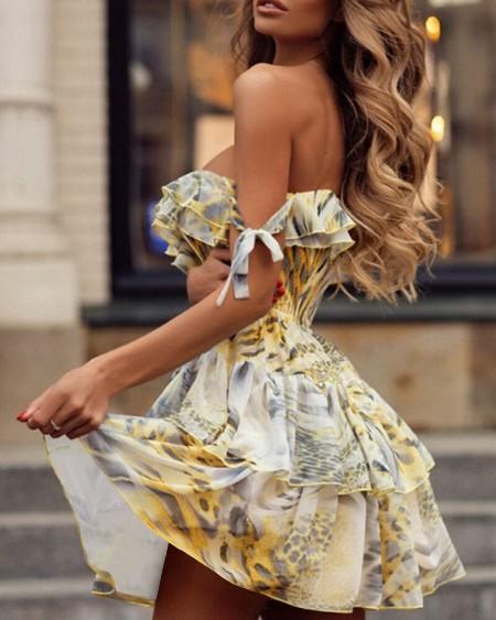 Leopard Short Sleeve Loose Ruffles Dress