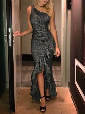 Glitterring One Strappy Ruffles Hem Maxi Dress