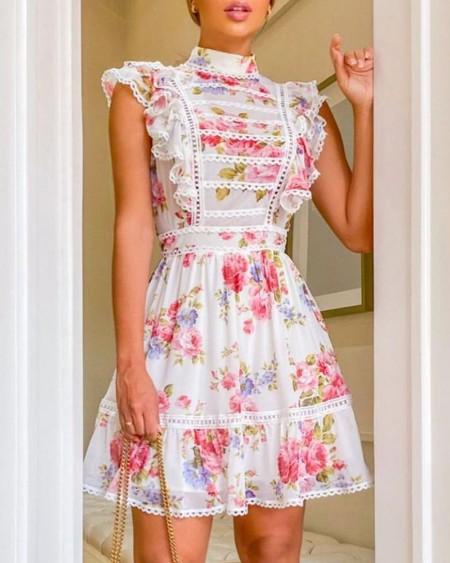 Floral Print Mock Neck Ruffles Dress