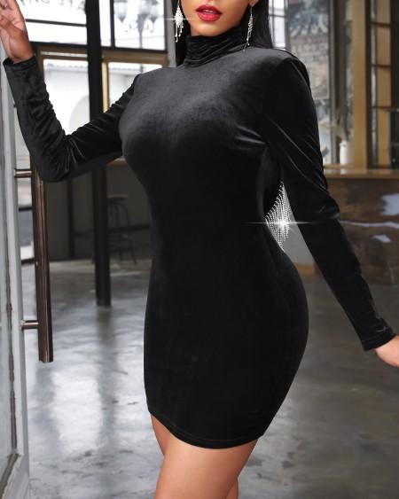 Studded Tassel Backless Bodycon Dress