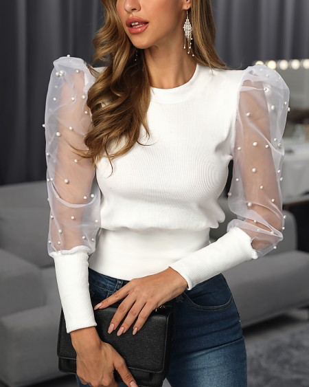 Solid Pearl Beaded Design Puff Sleeve Blouse