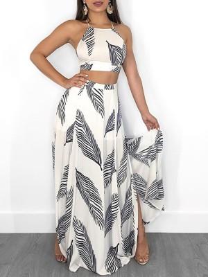 Leaf Print Backless Cami Top & Split Maxi Skirt Set