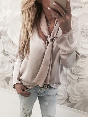 Stylish Tied V Neck Long Sleeve Casual Top