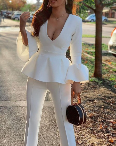 boutiquefeel / Solid Plunge Ruffle Top & Pants Set