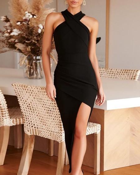 Crisscross Ruched Slit Irregular Bodycon Dress