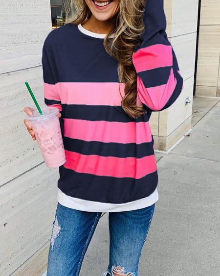 boutiquefeel / Striped Colorblock Round Neck Long Sleeve Sweatshirt