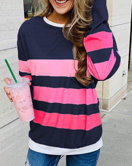 boutiquefeel / Striped Colorblock Round Neck Long Sleeve Sweatshirt