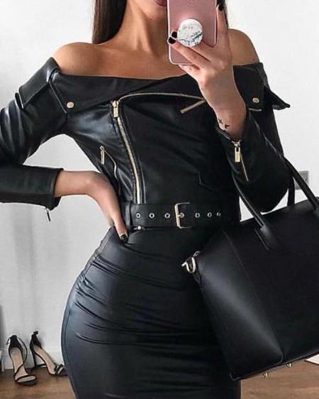 Off Shoulder Zipper Design Belted PU Dress