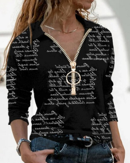 Letter Print Long Sleeve Zip-up T-shirts