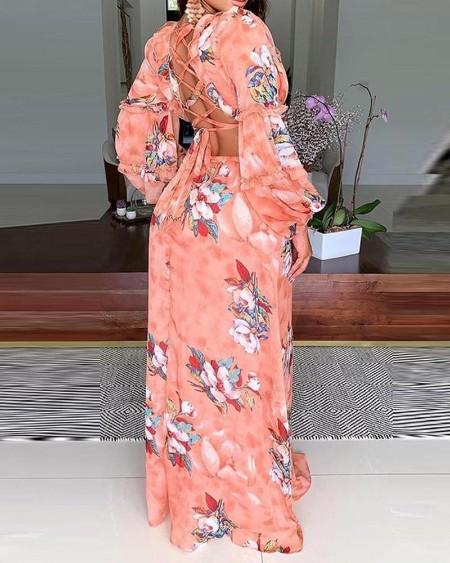 Lantern Puff Sleeve Cutout Floral Print Maxi Dress