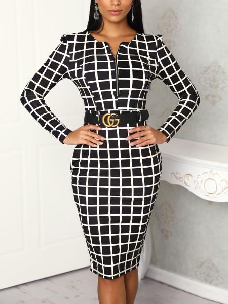 Grid Long Sleeve Zipper Up Belted Dress