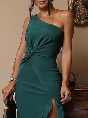 Solid One Shoulder Twist Side Irregular Ruffles Hem Dress