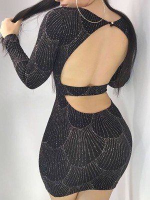 Shiny Hot Stamping Open Back Bodycon Dress