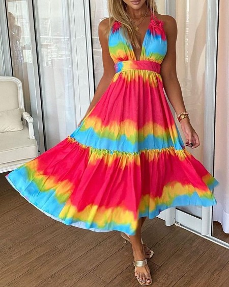 Tie Dye Print Frill Hem Backless Maxi Dress