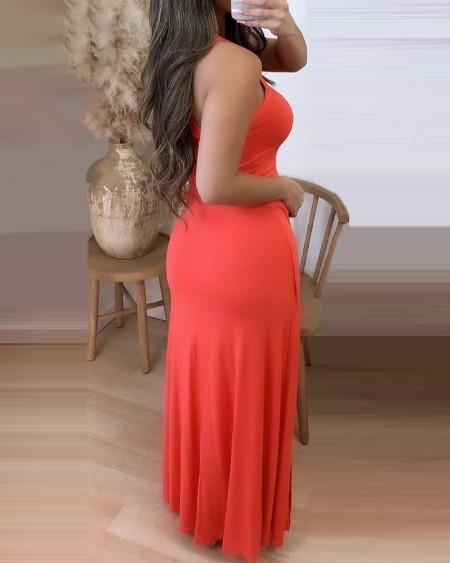Halter High Slit Sleeveless Maxi Dress