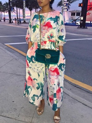 Floral Puff Sleeve Shirring Wide Leg Jumpsuit