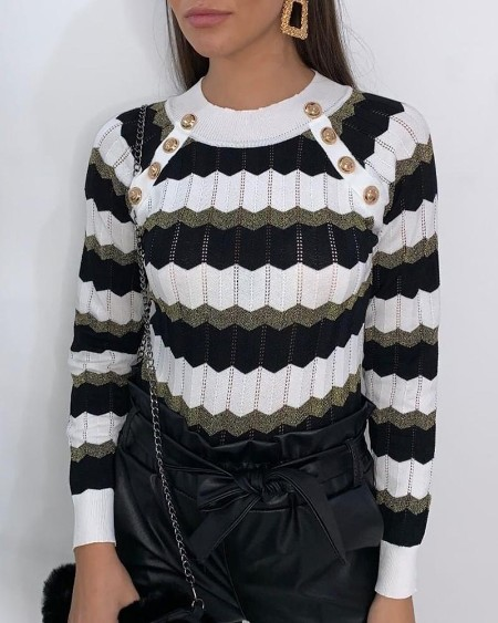 Colorblock Striped Metal Buttoned Detail Sweater