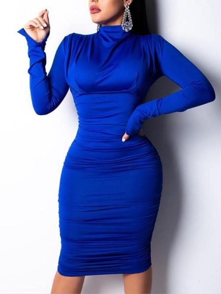 Long Sleeve Ruched Design Mock Neck Dress