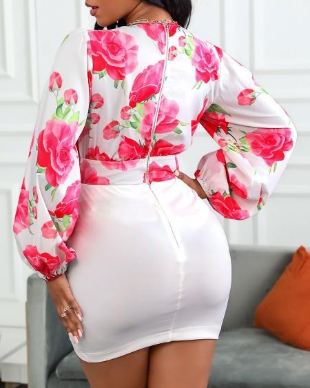 Floral Print Lantern Sleeve Top & Skirt Set