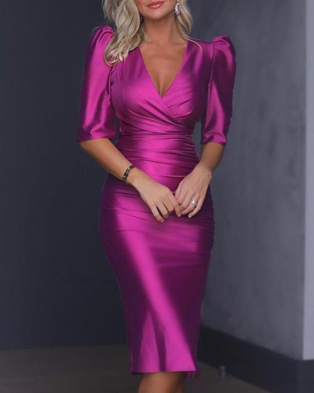 Puffed Sleeve Ruched Party Dress