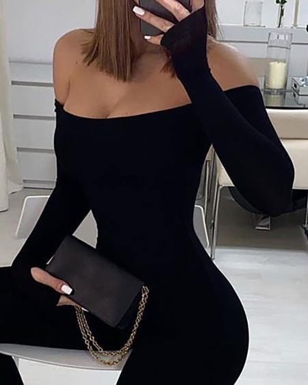 Off Shoulder Long Sleeve Skinny Jumpsuit