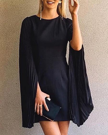 Solid Slit Pleated Sleeve Casual Dress