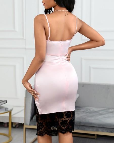 Spaghetti Strap Eyelash Lace Colorblock Satin Dress