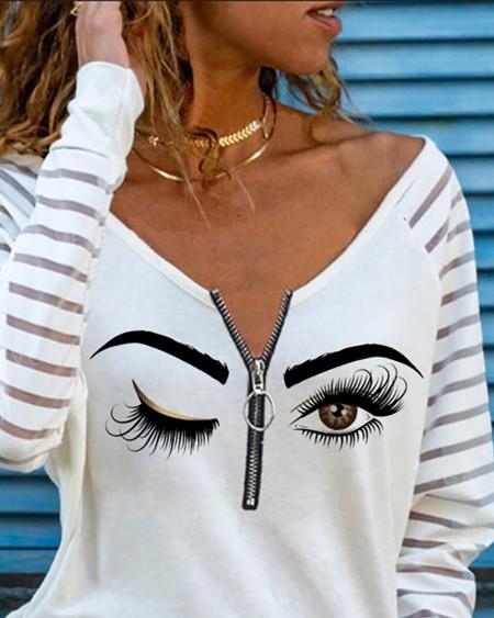 Eye Print Zipper Front Mesh Long Sleeve Top