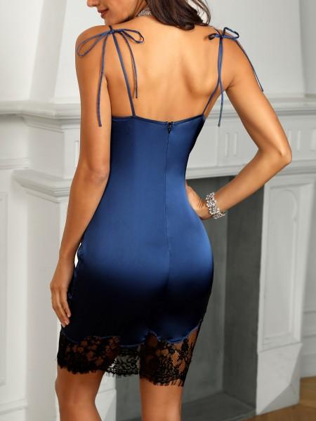 Spaghetti Stap Eyelash Lace Insert Dress
