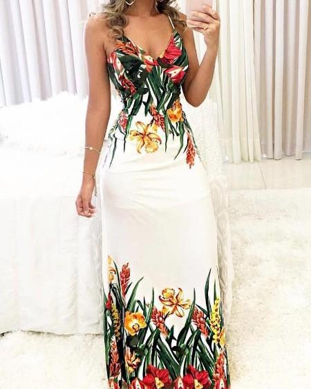 cb248bff4dde Floral Print Deep V Slip Maxi Dress ...