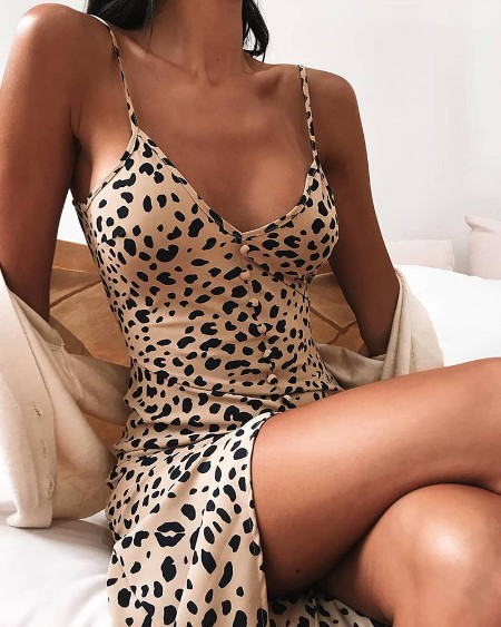 Animal Print Bodycon Cami Dress