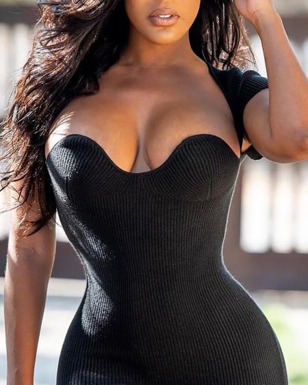 Ribbed Short Sleeve Bodycon Dress