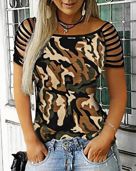 Camouflage Ladder Cutout Tassel Sleeve T-shirt