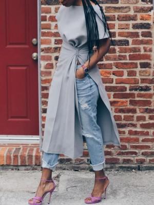 Solid Scrunch High Slit Short Sleeve Long Top